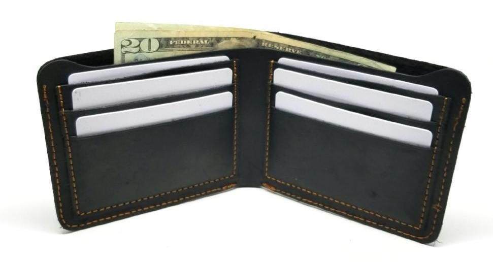 Black Bifold Crazy Horse Leather Wallet