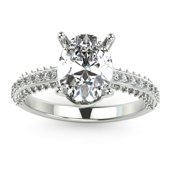 CUSHION CUT DIAMOND WHITE GOLD HALO EENGAGEMENT RING